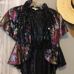 Sequined cape jacket